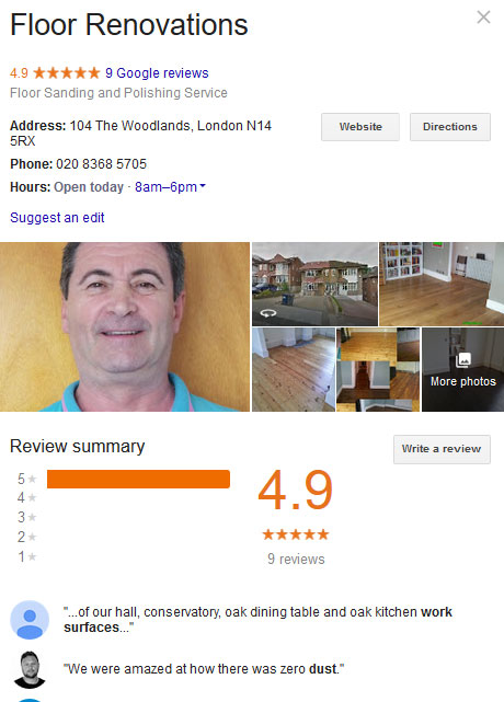 We consistently get five stars on our Google page!