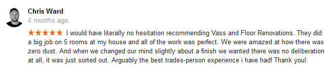 Example testimonial from our Google page