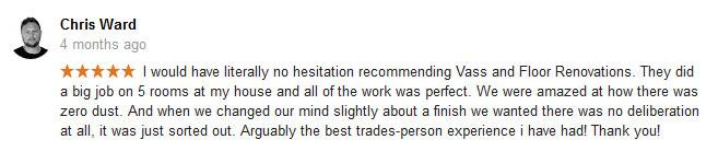 Testimonial froma recent customer.