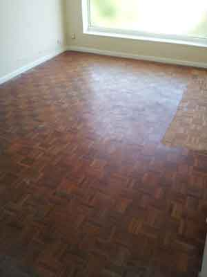 Old Parquet floor, seen here partially sanded