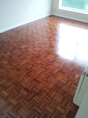Parquet floor, after sanding and a nice coat or two of varnish.