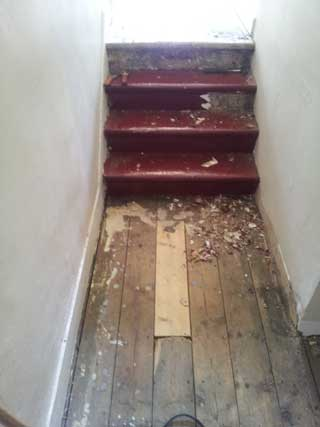 Stairs to be sanded in Hackney, E8