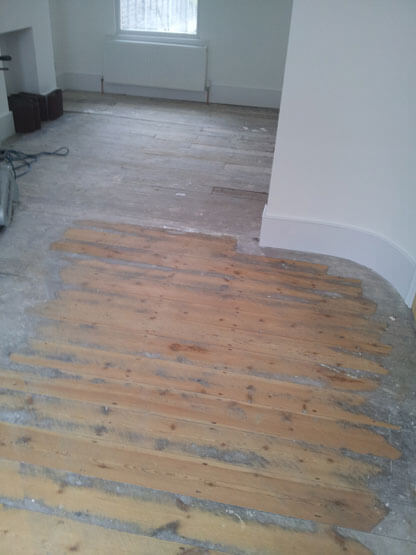 Floor warn - before it is sanded