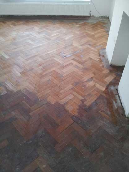 Sanding parquet floor