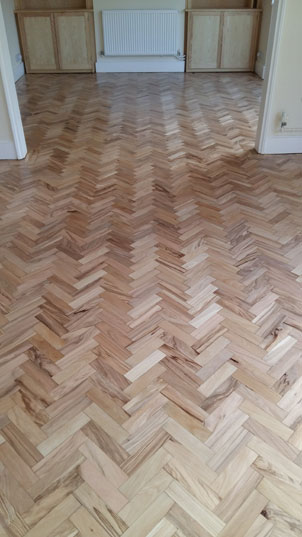 Parquet floor restoration in progress