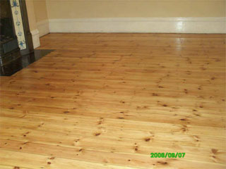 Floor after it has been sanded and sealed - in this case, varnished.